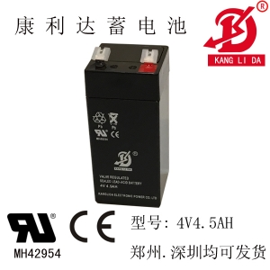 康利达厂家批发 4v4.5ah铅酸免维护蓄电池 4v电子称电瓶 现货足容